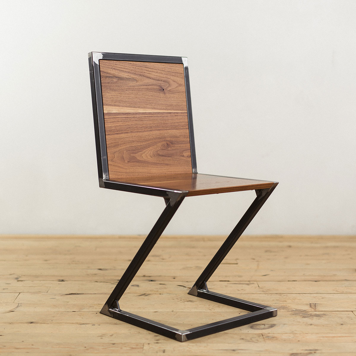 Industrial Modern Raw Steel Walnut Wood Z Chair