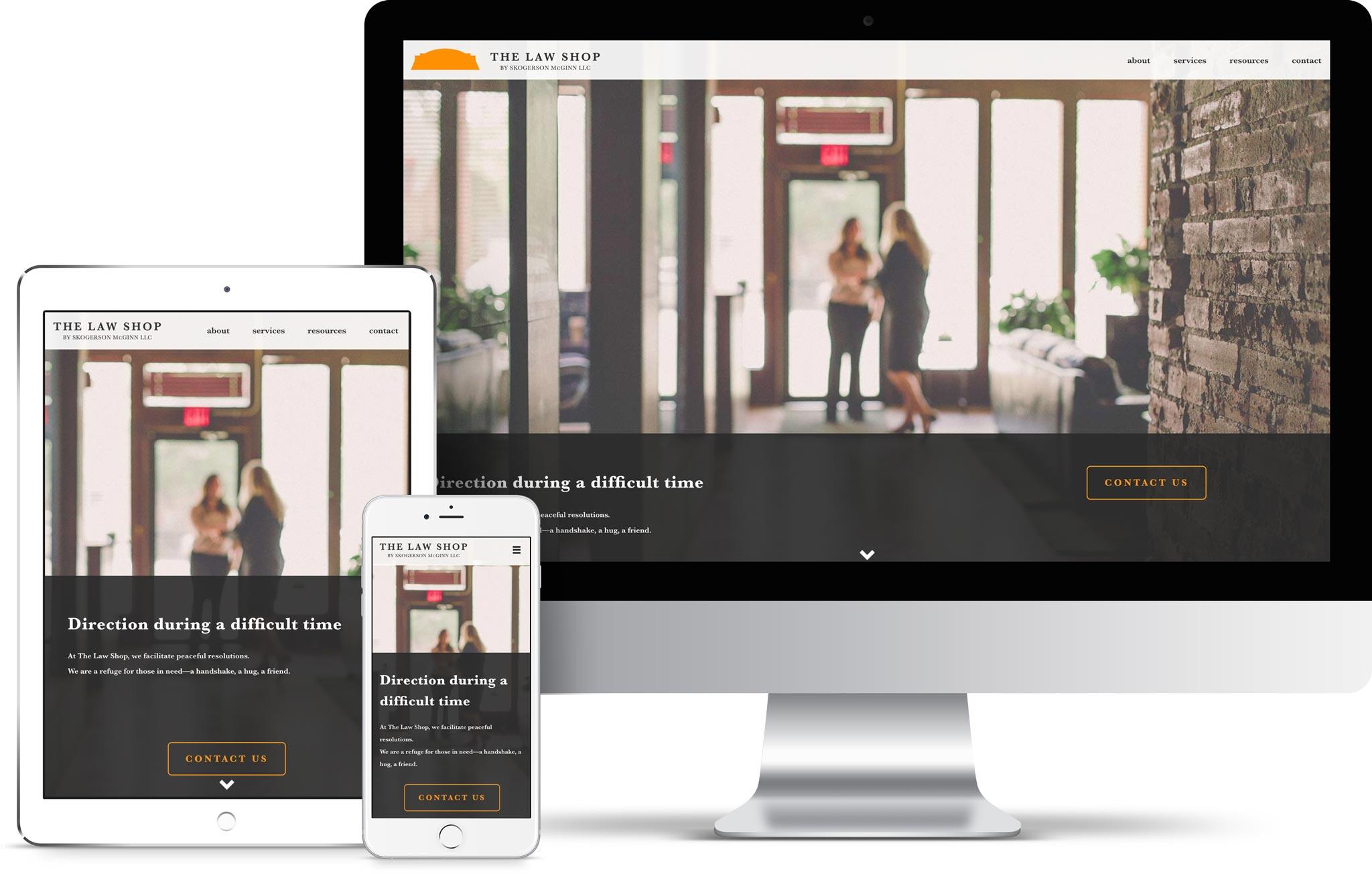 Law Shop attorney website design